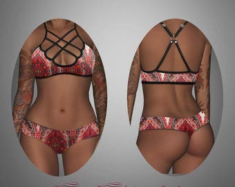 BIANCA - pink paisley reversible thong panties & SIENNA - basket weave strappy bralette top - Super soft, ultra comfortable!