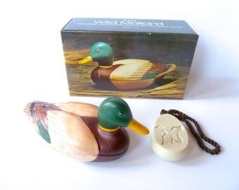 Vintage Retro Avon Wild Mallard Duck Ceramic Organizer and Clint Shower Soap on a Rope