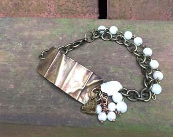 Brass Fold Form Bracelet, Patina Bracelet