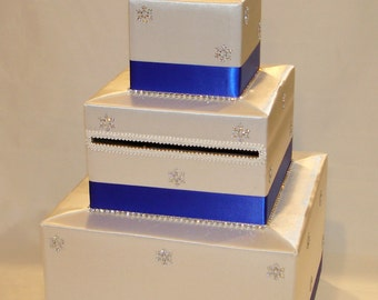 White and Royal Blue Winter theme Card Box