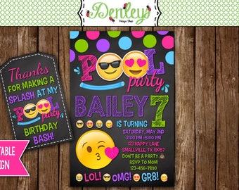 Emoji Pool Party Invitation, Pool Party Invitation, Emoji Birthday Invitations, Emoji Party Printable, Emoji Invitation (EM04)