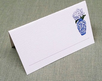 Place Cards with Blue and White Ginger Jar and Hydrangea, set of 12