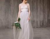 Full Length, Floor length Tulle Skirt, Extra Full Skirt- Silver Gray Tulle Skirt,Tulle skirt, Tutu,  Bridesmaid dress, Engagement Dress