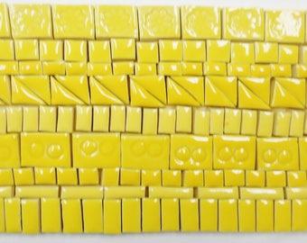 135+ Handmade Mosaic Tile Pieces Ceramic Stoneware Butter Yellow Shades Craft TIle Assortment #3