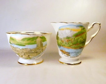ROYAL STAFFORD China England Vintage Cream & Sugar VANCOUVER B.C. Canada - Harbor and Skyline - The Lions