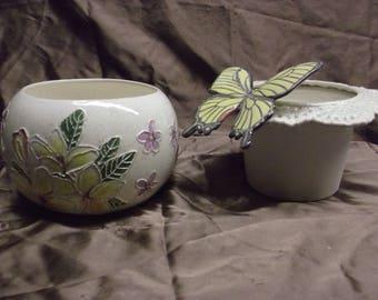 Handmade Africian Violet Pot Plumeria and Butterflies