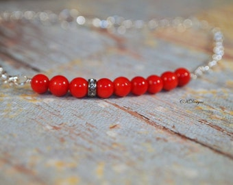 Red Bamboo Coral Beaded Bracelet, Dainty Coral Bracelet,  Beaded Chain Bracelet, Bar Bracelet, Layering Bracelet, Gift for Her
