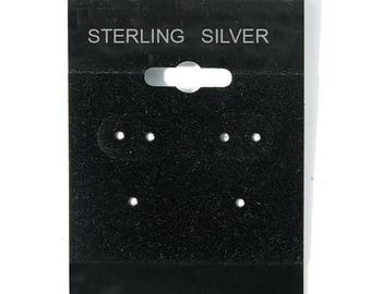 "Hanging Earring Cards, Black Flock Earring Cards, Sterling Silver Earring Cards, 2 x 2"" Display Earring Cards, Supplies, CKDesigns.US"