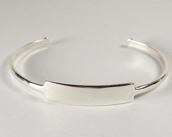 Custom Engraved Name Bracelet Personalized Sterling Silver Cuff Style Name or Initial - Hand Engraved