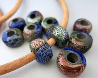 Mykonos Raku Donut Bead, 17mm OD, Midnite Glaze of Copper and Blue, Large Hole Ceramic Bead, Made in Greece, ready to ship, MID17R