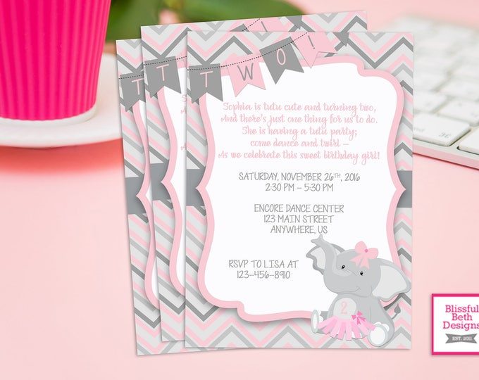 TUTU BIRTHDAY PARTY, Elephant TuTu Birthday Invitation, Second Birthday Invitation, Elephant Tutu, Pink Gray Girl Birthday Invitation, Tutu