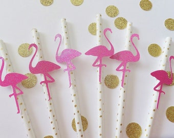 FLAMINGO Party Straws ~ 12 ~ Bachelorette Party ~ Baby Shower ~ Birthday Decorations ~ Fuschia Pink & Gold