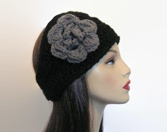 Black Crochet  Headband with Flower Black Ear Warmer Black Earwarmer with Flower Thick Headband Thick Knit Head wrap Extra Wide Headband