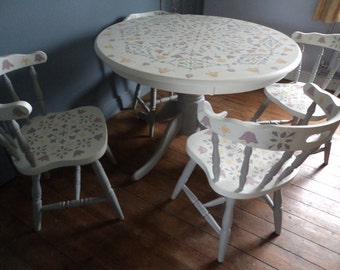 Bespoke dining room table and chairs with hand painted  folk art  / mandala designs