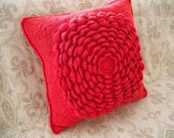 Decorative pillow - cable knitted pillow cover - Throw Pillow Cover - red Knit Pillow Case - Hand Knit Cushion Cover - Home Decor.