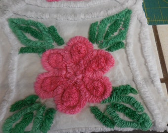 Four Double PINK Chenille ROSES and Double GREEN Leaves on White Vintage Chenille Bedspread Fabric - #1
