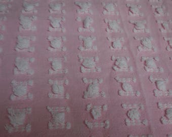 """Rare and So Sweet Vantona PINK with WHITE  ROSEBUDS Vintage Chenille Bedspread Fabric - Made in Great Britain - 18"""" X 30"""""""