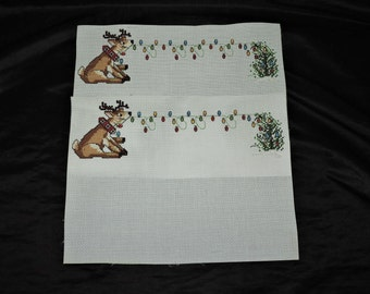 Lot 2 Christmas Cross Stitch Reindeer Pulling Light String Placemat Pictures Set Aida Hand Stitched Cute Christmas Tree
