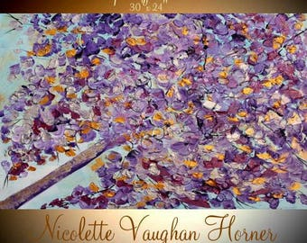 ORIGINAL Abstract Acrylic gallery canvas-Contemporary Modern metallic gold, silver,purples Tree Of Life painting by Nicolette Vaughan Horner