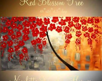 "XLarge Red Blossom Tree Oil Landscape Abstract Original 48"" palette knife oil  impasto oil painting by Nicolette Vaughan Horner"