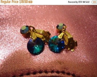 Now On Sale Vintage Blue Rivoli Rhinestone Earrings Mad Men Mod Mid Century Pretty Collectible Jewelry Retro Martini Mermaids