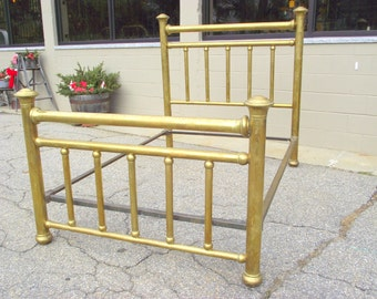 Antique Brass Bed 4 Poster Victorian - Full Double Size - Complete Headboard Footboard Cast Iron Rails Classic Late 1800s - early 1900s