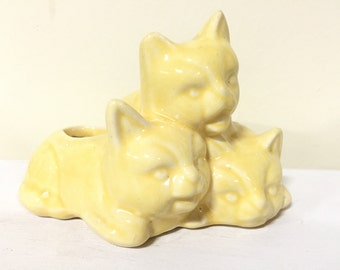 Vintage Cat Planter - Kitten Figurine - Indoor Planter - Cat Figurine - Yellow Decor