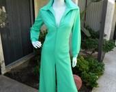 Vintage 1970's Montgomery Ward Seafoam Green Jumpsuit - Size 14