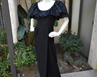 Vintage 1980's Michael Novarese Black Evening Gown - Size 8