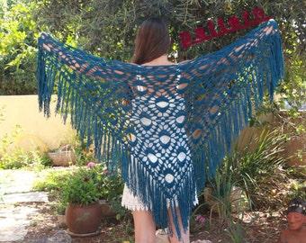 Fringed Shawl Crochet Pattern Triangular Shawl PDF Advanced Crochet Patterns