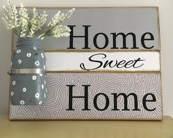 Home sweet home sign, mason jar decor, wall sign, wall hanging, welcome sign, bridal shower gift, wedding gift, housewarming gift, farmhouse