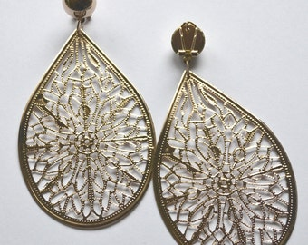 Gold filigree earrings - posts but dangle