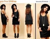 25% OFF On Sale 90s Vtg Deep Arm Hole HORSE BIT Mini Dress / Little Black Jumper / Slouchy Suspender Tank Dress / Xs - Small / Clueless Grun
