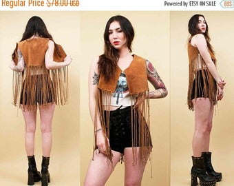 25% OFF 60s 70s Vtg Distressed Genuine Suede Long FRINGE Sleeveless Vest Waistcoat / Boho Hippie Rock N Roll As Is Xs Sm