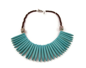 Turquoise Spike and Wood Bib Necklace