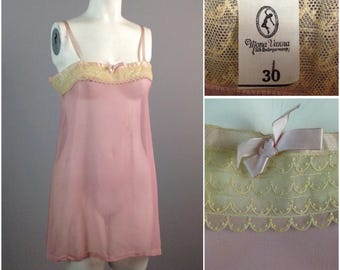 Vintage 1920s 1930s Pink Silk Sheer Sleeveless Pajama Blouse Top Lingerie / Women's Small  / Art Deco Pajama Nightie Top Lounge
