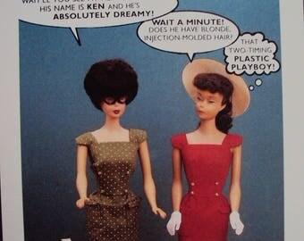 Unused Postcard 1990 Nostalgic Barbie, Two Timing Ken