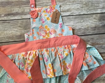 Girl Size 12mo-5T Apron in Orange Blossom