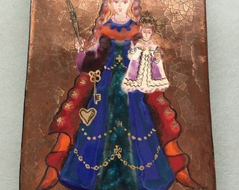 Vintage Madonna and child painting/icon by Michel Folscheid