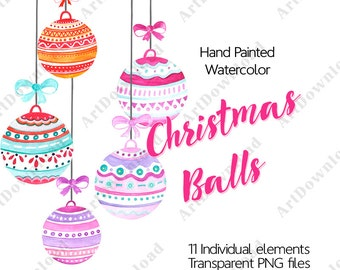 Watercolor Christmas Clipart - Clip Art Christmas Balls, Digital Holiday Clipart, Hand Painted Watercolor Christmas Balls, Christmas pack