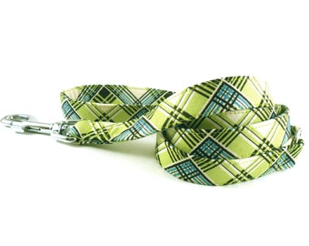 Lime Turquoise Plaid Dog Leash