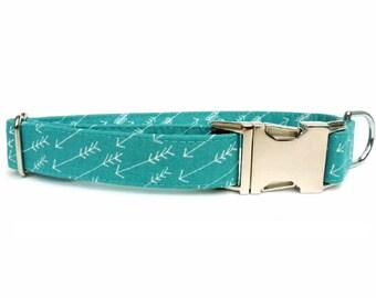 Arrows in Ocean Blue Dog Collar