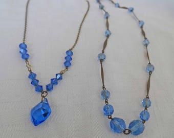 Two vintage dainty 1940's glass necklaces