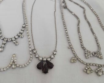Five vintage diamante/rhinestone necklaces