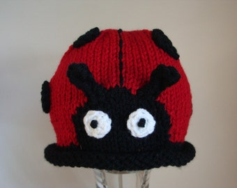 Ladybug Beanie for Baby and Toddlers, Ladybug Hat for Girls, Hand Knit & Crochet Animal Beanie - Photo Prop