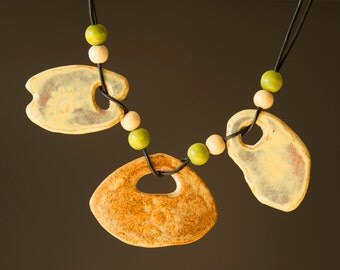 "Ceramic Necklace - Porcelaine - 9"" -"