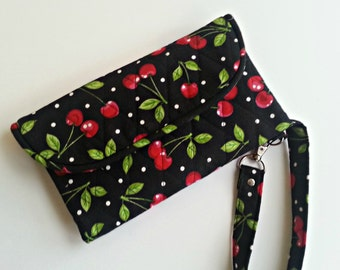 Quilted Wristlet/Wallet Carry-all in a black Cherry Print