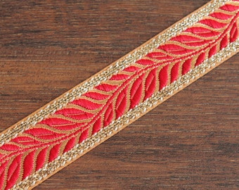 1 Yard Brocade Fabric Trim-Red Grosgrain Ribbon Trim-Floral Design Jacquard Ribbon-Sari Fabric-Silk Ribbon-Silk Sari Border S9-0033
