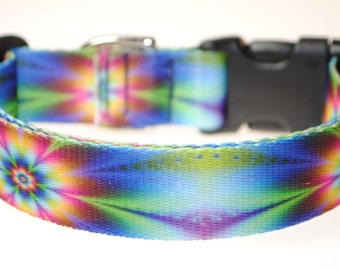 """Psychedelic Flowers - 1"""" Wide Adjustable Dog Collar"""