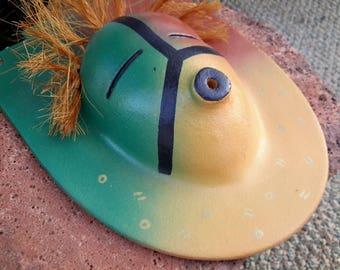 Native American Textile Art Pottery Mask by Verna Solomon Laguna Pueblo New Mexico Southwest USA Ceramics